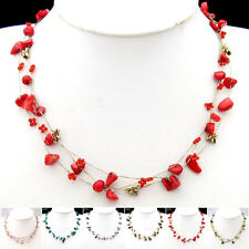 Special Offer, Natural Gemstone Silk Thread Necklace Bracelet Earrings Set