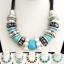Special Offer, Turquoise Pearl Silvered Resin Snake Chain Necklace XB239