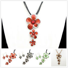 Special Offer, Coloured Glaze Silver Plated Flower Pendant Earrings Set XC150