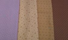 New-FQ-100% Cotton Fabric-Ditsy Designs-Brown Caramel Beige or Lilac Tones