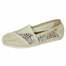TOMS ESPADRILLES CLASSIC MORROCAN CROCHET WOMENS CREAM SHOES