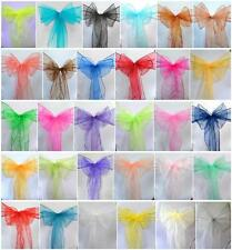 150 PCS Organza Chair Cover Sash Bow Wedding Anniversary Party Reception  Bows