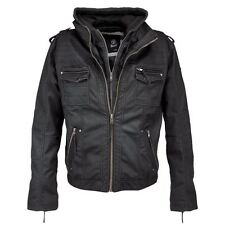 BRANDIT BLACK ROCK MENS BIKER JACKET LEATHER HOODED COAT