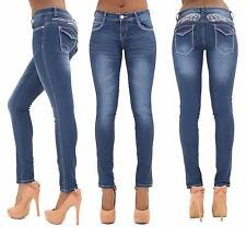Womens Ladies Sexy Blue Skinny Jeans Faded Slim Fit Denim Skinny Jeans Size 6 8