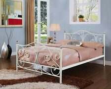 4ft6 White Double Metal Bed Frame With Crystal Finials