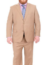 Mens Portly Fit Solid Tan Two Button Super 140's Wool Suit