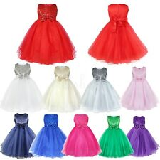 Flower Girl Sequins Wedding Bridesmaid Pageant Party Birthday Toddler Kids Dress