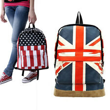 Flag Pattern Unisex Canvas Teenager School Bag Book Campus Backpack