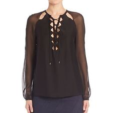Women's Sexy Black See Through Casual Tops Lace Up Long Sleeve Chiffon Blouse