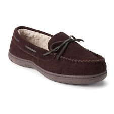 Chaps Leather Suede Sherpa Brown Men's Moccasin Slippers XX-Large AS-IS