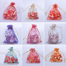 Wholesale 100X FLower Organza Jewelry Pouch Wedding Party Favor Gift Bag 12X9cm