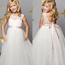 White Flower Girl Lace Wedding Bridesmaid Birthday Party Formal Maxi Dress 2-12T