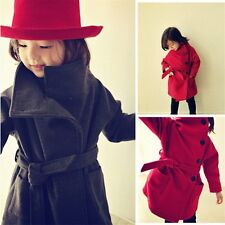 Girl Fashion Autumn Woolen Trench Coat Kids Wind Jacket Windbreaker Outwear 2-7Y