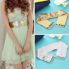 Women Fashion Casual Elastic Stretch Shinning Sequin Waist Waistband Belt IM