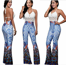 New Women Sexy halter backless Print Clubwear Long Pant Jumpsuit Romper Playsuit