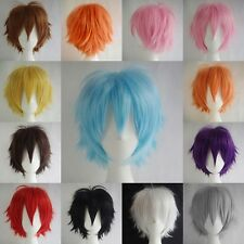 Women Men Short Cosplay Wig Cartoon Party Dress Cool Curly Full Synthetic Wig US