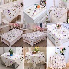 Embroidered Purple Flower Lace Kitchen Dining Tablecloth Table Runner Doliy Mat