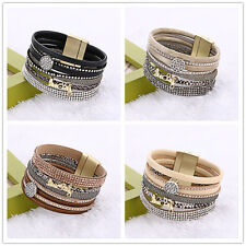 Lots Rows Leather Letter Wristband Cuff Punk Crystal Magnetic Bracelet Bangle