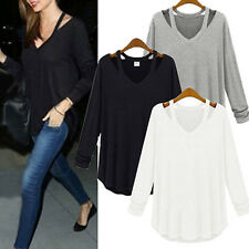 Womens 2017 Fashion Loose Cotton V-Neck Top Long Sleeve T-Shirt Casual Blouse UK