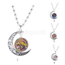 Hot Sale Tree of Life Flower Crescent Moon Chain Pendant Necklace Women Jewelry