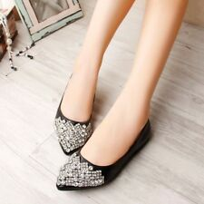 Fashion Womens Pointed Toe Rhinestone Crystal Pumps Flats Dating New Shoes size