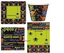 SPOOKY HALLOWEEN PARTY DECORATION PLATES CUPS NAPKIN TABLECOVER SET FOR 8 & 16