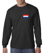 Embroidered Netherlands Flag Amsterdam Soccer Pride Long Sleeve T-Shirt S-3XL