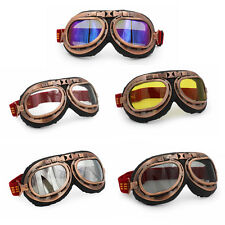Helmet Steampunk Copper Motorcycle Flying Goggles Vintage Pilot Biker Multi Lens