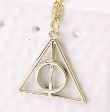 Harry Potter Deathly Hallows Triangle Metal Pendant long Chain Necklace