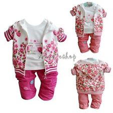 3pcs Baby Girl Peony Warm Coat + Long Sleeve T-shirt + Pant Clothes Outfit 6-24M