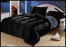 BEAUTI FUI BLACK SOLID 1000TC SATIN SILK FITTED/SHEET/DUVET CHOOSE SIZ&ITEM
