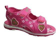 GIRLS TEDDY SHOES VELCRO SUMMER SANDALS FAUX LEATHER PINK SIZE 8-13 NEW