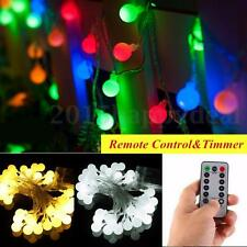 Remote&Timer 5m 50LED Outdoor Globe Fairy String Light Xmas Party Wedding Strip