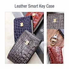 4Button Stitched Smart Key Leather Case Cover Holder Pouch Hook BC-6 for HYUNDAI