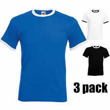 Mens Fruit of the Loom Ringer Cotton T Shirt Top Casual Pack of 3 Contrast Multi