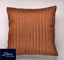 GOLD NATURAL PIN STRIPES 18x18in CHENILLE CUSHION COVER - UK MADE (45x45cm)