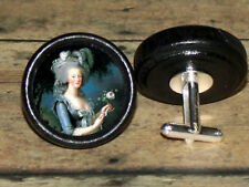 French Queen MARIE ANTOINETTE Altered Art CUFF LINK or HAIR PIN pair Set