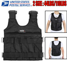 44/110LBS Adjustable Fitness Weight Weighted Camo Vest Exercise Training Workout