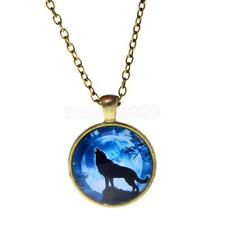 Punk Cool Women Men Shiny Wolf Glass Pendant Necklace jewelry