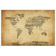 Poster Print Wall Art entitled Map of the World Map from Old Sheet Music