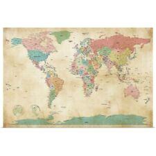 Poster Print Wall Art entitled Political Map of the World Map, Antique