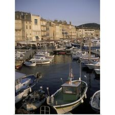 Poster Print Wall Art entitled France, St. Tropez, Boats moored in harbor