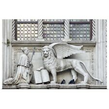 Poster Print Wall Art entitled Italy, Venice. Statue of a winged lion and the