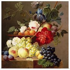 Poster Print Wall Art entitled Still life with fruit and flowers