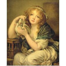 Poster Print Wall Art entitled Girl with the Doves (after Greuze)