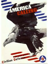Poster Print Wall Art entitled America Calling, Civilian Defense, Vintage