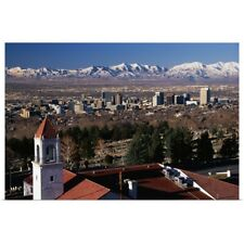 Poster Print Wall Art entitled Salt Lake City and Wasatch Mountains UT