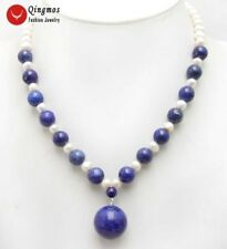 Big 20mm Blue Natural lapis lazuli Pendant with 6-7mm white Pearl necklace-n5992