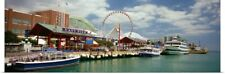 Poster Print Wall Art entitled Boats moored at a harbor, Navy Pier, Chicago,