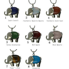 Healing Chakra Gemstone Elephant Pendant Necklace Sweater Chain Jewelry 8 Types